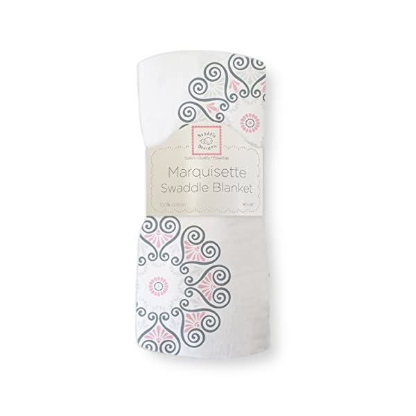 SwaddleDesigns Marquisette Swaddling Blanket, Premium Cotton Muslin, Pink Medallions