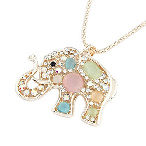 Boy Charm Diamond Kids - Inkach Women Girls Rhinestone Diamond Crystal Elephants Pendant Long Chain Necklace Jewelry (Multicolor)