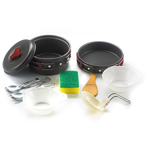 Portable Camping Cookware Mess Kit - 11 Piece Non-Stick Cookset, Perfect Outdoor Cooking equipment for Backpacking, Hiking and Picnic (Lightweight, Durable & Compact)