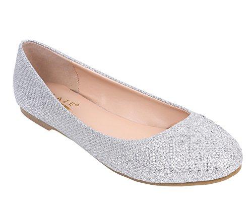 Glaze Mujeres Pisos Zapatos Cerrados Punta Redonda Faux Nubuck Glitter Dorado Textura Hebillas Ajuste Cremallera Acolchado Zapatos Plata