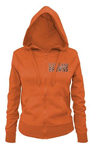 NFL Cleveland Browns Ladies Zipped Hooded Fleece, Orange, Large – DiZiSports Store