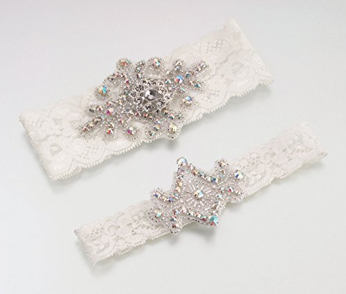 Lillian Rose Elegant Jeweled Ivory Lace Wedding Garter Set