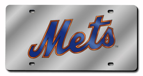 New York Mets License Plate - MLB New York Mets Laser-Cut Auto Tag (Silver)