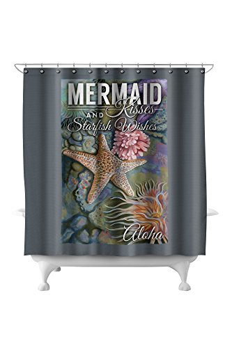 Aloha - Mermaid Kisses and Starfish Wishes - Tidepool (71x74 Polyester Shower Curtain)