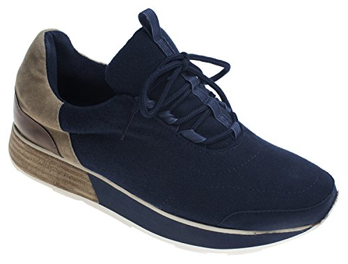 AnnaKastle Womens Wool Felt Low-Top Comfort Slip On Sneaker Lace Up - Navy 0UkbC