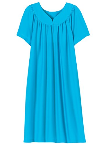 (AmeriMark Solid Sweetheart Neck Muumuu with Pockets Plus Size Turquoise)