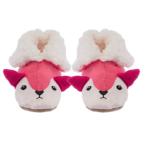 Yelete Plush 3D Animal Slippers Cute Fuzzy Soft Sherpa Boots Kids Toddlers Girls (Comfy Slippers Embroidered)
