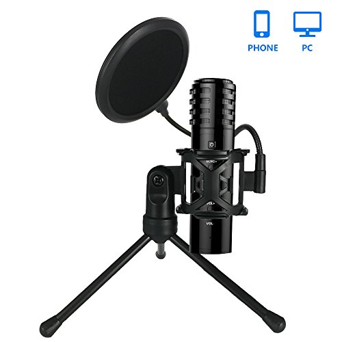Complete Professional Karaoke (Professional Phone Live Microphone, XIAOKOA Iphone Computer Microphone With Stand Built-in Sound Card Echo for Recording Podcasting Broadcasting)