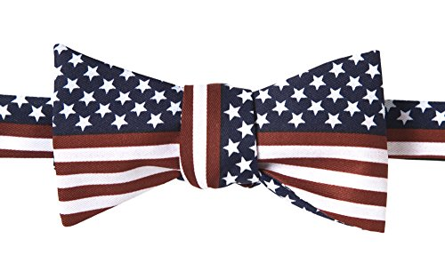John William American Flag USA Patriotic Striped Self Tie Bow -