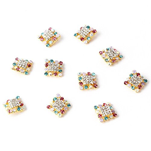 10pcs Fashion 3D Alloy Nail Art Colorful Rhinestones Gems Stickers Glitter Gold Rhombus Beads Nail Art Manicure DIY Decoration for Cellphone Case