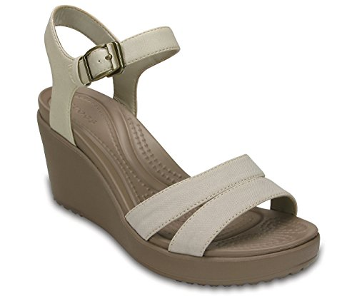 (Crocs Women's Leigh Ii Ankle Strap W Wedge Sandal, Oatmeal/Khaki, 7 M US)