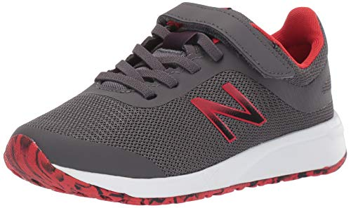 New Balance Boys' 455v2 Hook and Loop Running Shoe, Magnet/Velocity Red, 3.5 W US Little Kid