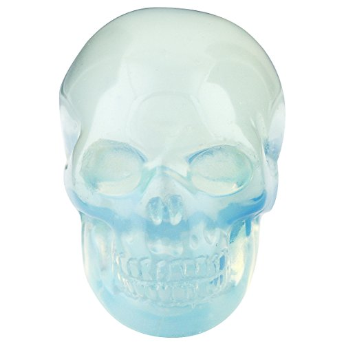 SUNYIK Opalite Carving Skull Stone Pocket Statue Figurine Decor 1.5