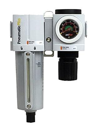 "PneumaticPlus PPC4B-N06G-Q1 Compressed Air Filter Regulator Modular Combo 3/4"" NPT - Manual Drain, Metal Bowl, Embedded Gauge"