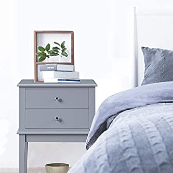 Gray Night Stand Coniffer Modern Wood End Table with Drawer and Storage Shelf for Bedroom