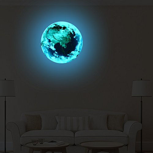 VancyTop 3D Luminous Earth Pattern Self-adhesive DIY Removable Wall Sticker for Kids' Room Nursery Living Room Home Decoraions,Blue Light Color -