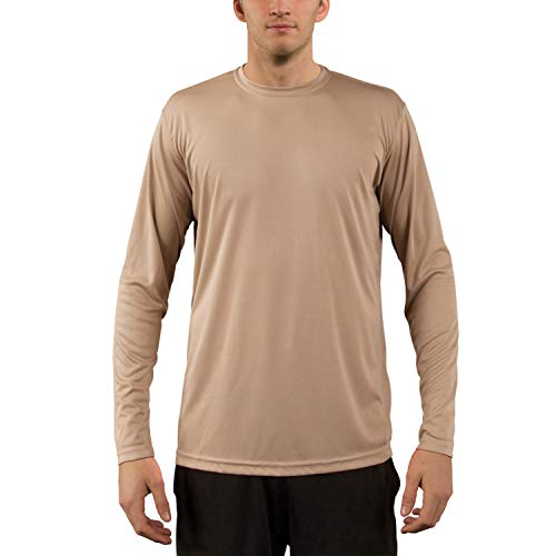 Vapor Apparel Men's UPF 50+ UV Sun Protection Performance Long Sleeve T-Shirt X-Large Tan