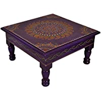 Indian Hand Painted Meenakri Work Designer Wooden Small Table Pooja Chowki 11 X 11 X 5.5 Inch