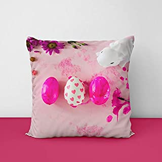 Easter Dragee Rabbits Colored Square Design Printed Cushion Cover