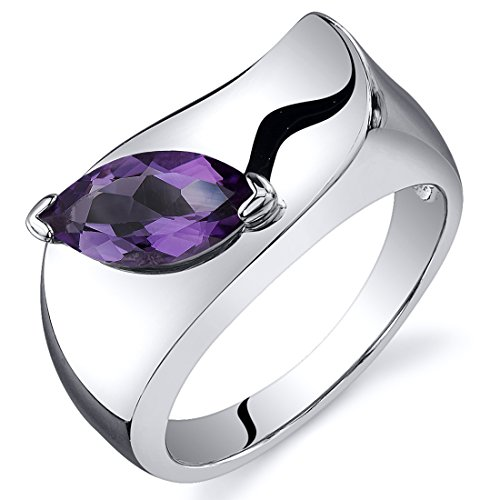 Amethyst Ring Sterling Silver Rhodium Nickel Finish Marquise Shape 1.00 Carats Size 6