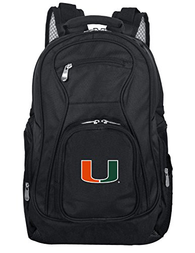Denco NCAA Miami Hurricanes Voyager Laptop Backpack, 19-inches, Black