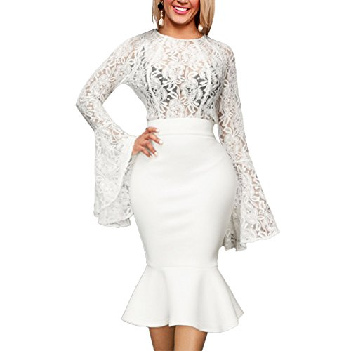 - Women's Sexy 2 Piece Skirt Set Lace Flare Sleeve See Through Top + Mermaid Midi Skirt White M