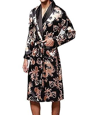 Ku-lee Men's Silk Nightwear Bath Robes Short Kimono Robes Dragon Pattern