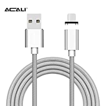ACALI® Magnetic Apple USB Lightning Charger Cable 2rd Generation Nylon Braided for iPhone 5, 5c, 5s, SE, 6, 6 Plus, 6s, 6s Plus, 7, 7 Plus,iPad