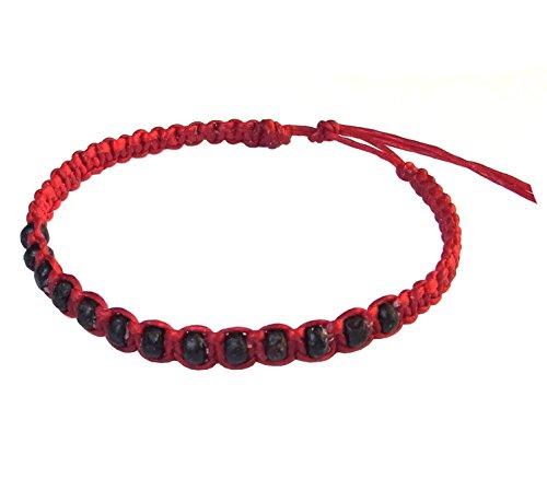 Thai Buddha Fashion Art Handmade Bracelet Red Wax String Black Wood Beads Wristband (Thailand Costume Jewelry)