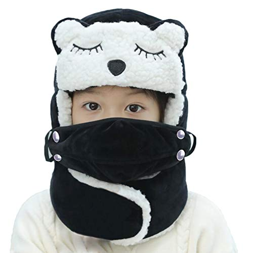 JIAHG Kids Cute Cat Winter Trooper Trapper Hat Girls Boys Thermal Plush Lined Russian Hunting Hat Ushanka Ear Flap Windproof Face Mouth Mask Full Coverage Bomber Hat Beanie Cap Outdoor Ski Cap