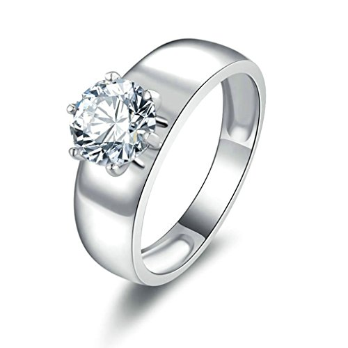 - Daesar Silver Plated Rings Womens Engagement Rings Promise Custom Ring a Round CZ Ring Size 10.5