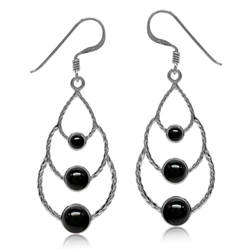 Elongated Created Black Onyx White Gold Plated 925 Sterling Silver Drop Dangle Earrings