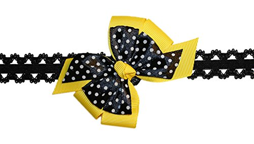 WD2U Baby Girls Infant Yellow Black Bee Dotted Hair Bow Stretch Headband - Bumble Bee Hair Bow