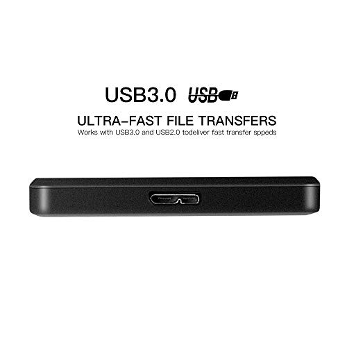 2.5'' Ultra Slim Portable External Hard Drive 9mm USB3.0 HDD Storage (250GB, Black) by TEYADI (Image #3)