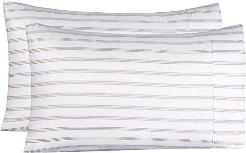 AmazonBasics Microfiber Pillowcases - 2-Pack, Standard, Taupe Stripe