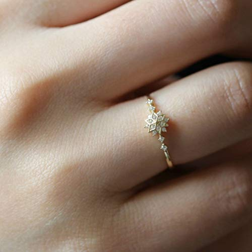 Dolland Womens Gold Tone Snowflakes Eternity Ring Engagement Wedding Band Thin Finger Ring,#10