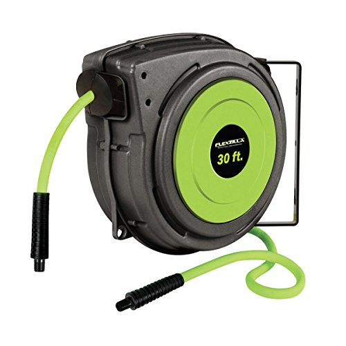 Flexzilla Retractable Enclosed Plastic Air Hose Reel, 3/8 in. x 30 ft., Heavy Duty, Lightweight, Hybrid, ZillaGreen - L8230FZ