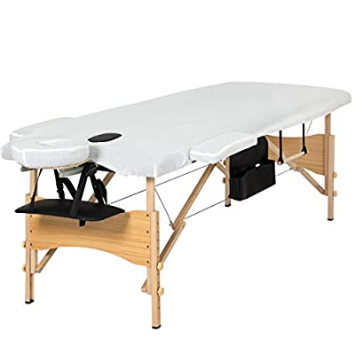 "Best Choice Products Portable 84"" Tri-Folding Massage Table Bed Set With Cover- Black"