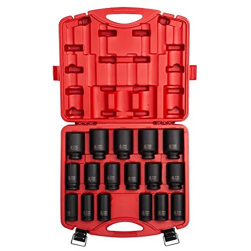 Sunex 4686, 3/4 Inch Drive Deep Impact Socket Set, 17-Piece, Metric, 26mm-44mm, Cr-Mo Alloy Steel, Radius Corner Design, Heavy Duty Storage Case