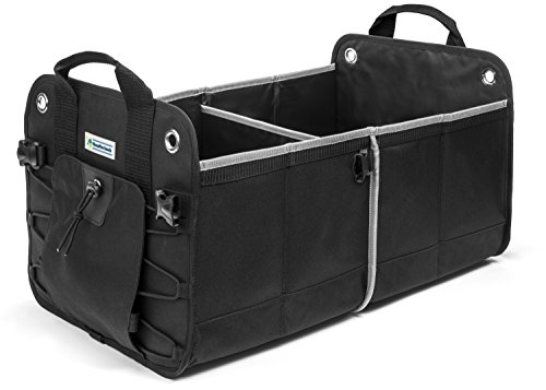 Black Heavy Duty Car Trunk Organizer By HomePro Goods, Sturdy Storage for Travel, Groceries and Gear