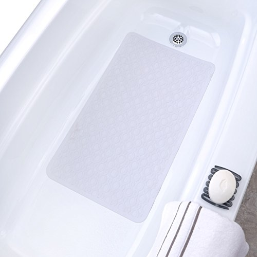 SlipX Solutions Mildew Resistant Large White Rubber Bath Safety Mat Features Powerful Microban® Antimicrobial Product Protection (15 x 27, 250 Suction Cups, Machine Washable)
