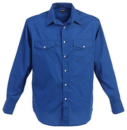 Gioberti Mens Casual Western Solid Long Sleeve Shirt With Pearl Snaps, Royal Blue, Large