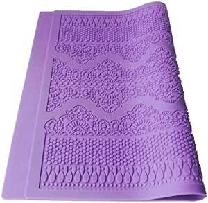 Flower Pattern Silicone Mat Fondant Cake Lace Embossed Cake Decorating Tool Mold Mould Purple