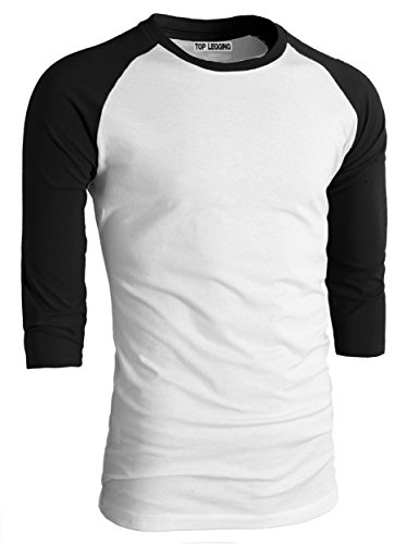 TOP LEGGING TL Men's Basic Crew Neck Cotton 3/4 Sleeve Essentail Raglan Baseball Tee Shirts BWHT_SBLACK-XLarge 3/4 Raglan Sleeve Crew Shirt