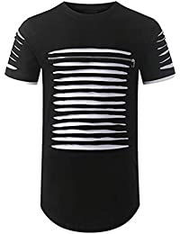 Men T Shirt,Fineser Mens Short Sleeve Crewneck Slit Zipper Solid Patchwork Casual Polyester Tunic T Shirt Top...
