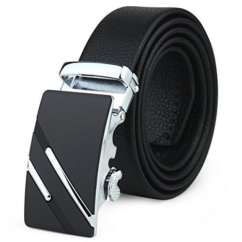 Men's Leather Ratchet Dress Belt Automatic Sliding Buckle With A Gift Box Black
