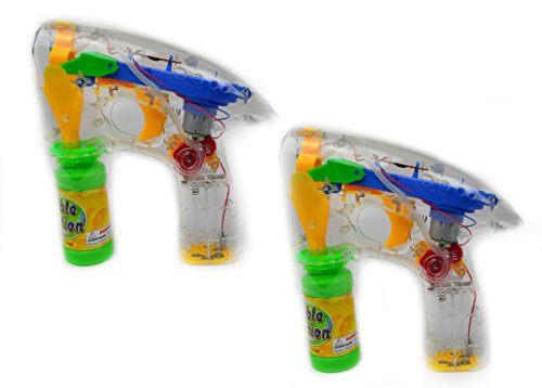 GlowCIty's Set of Two Light Up Bubble Gun Blasters-Includes Two Bubble Guns and Bubble Solution ()
