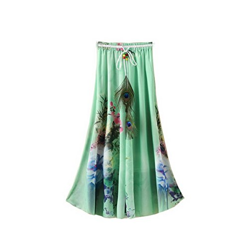 Pluma Cintur Mujer Verano Impreso Bohemio Falda Larga Ahatech qwxC6HAW