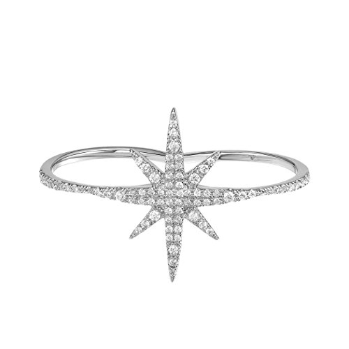 Suplight Two Finger Rings For Women Crystal Star Ring with Cubic Zirconia Stylish Ring White Gold Double Fingers ()