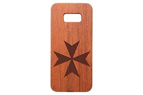NDZ Performance for Samsung Galaxy S8 Plus Rosewood Wooden Phone Case Custom Engraved - Maltese Cross ()